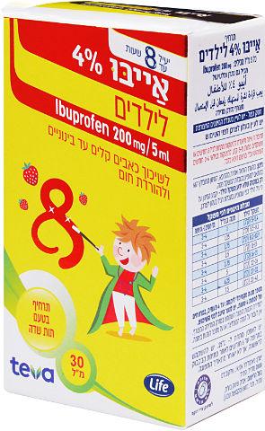 אייבו 4% לילדים, לשיכוך כאבים קלים עד בינוניים ולהורדת חום