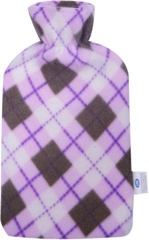 בקבוק מים חמים מרופד פליז תכלת /סגול