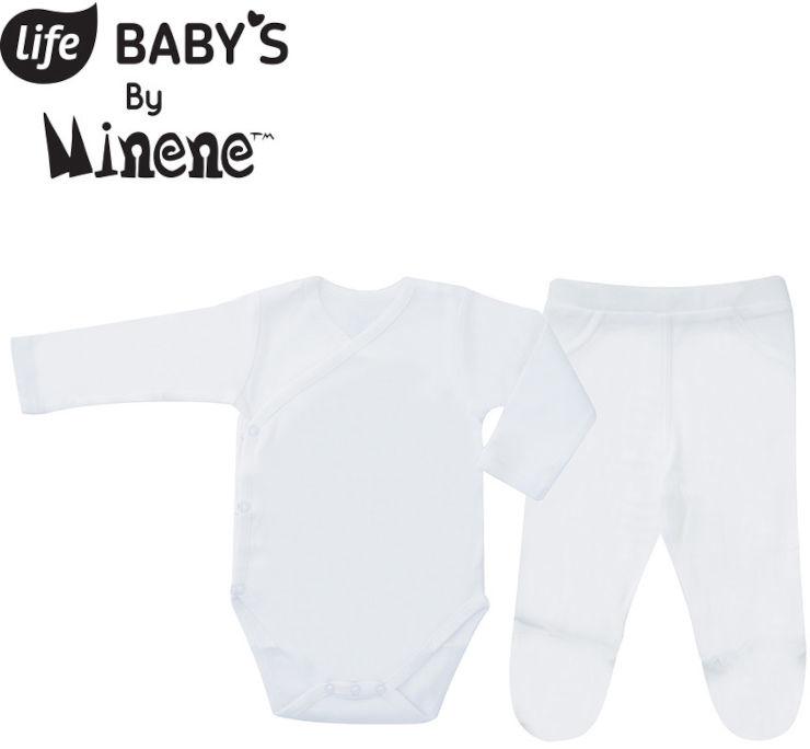 BABYS סט בגד גוף ומכנסיים שרוול ארוך 100% כותנה לבן NB