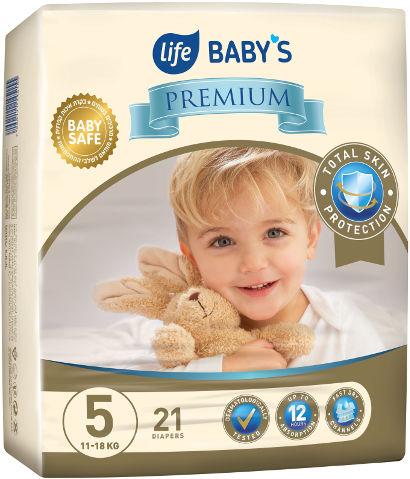 BABYS PREMIUM חיתולים 5 ג'וניור 11-18 ק