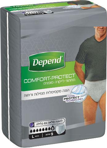 Comfort-Protect תחתוני לייקרה סופגים לבריחת שתן, גברים L