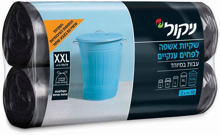 """שקיות אשפה XXL לפחים ענקיים בצבע שחור גודל 90X78 ס""""מ"""