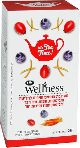 Wellness תערובת צמחים ופירות לחליטה היביסקוס, תפוח, ורד הבר, קליפות תפוז ופירות יער
