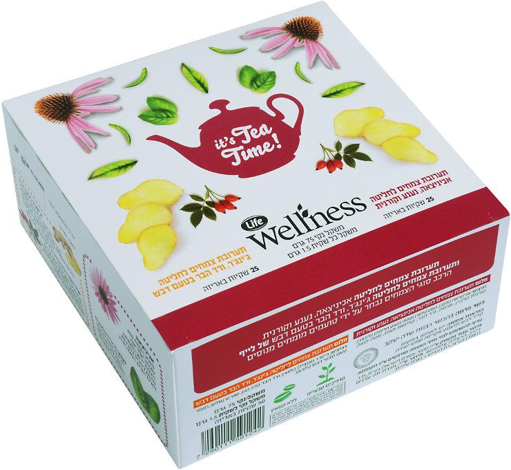 Wellness תערובת צמחים ליטה ג'ינג'יר ורד הבר בטעם דבש + תערובת צמחים לחליטה אכיניציאה, נענע וקורנית