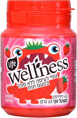 Wellness מסטיק ללא סוכר בטעם תות