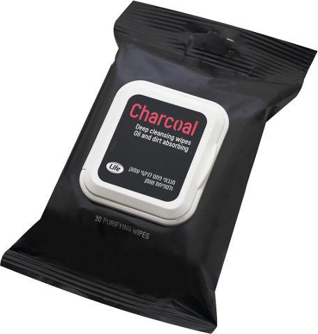 לייף מגבוני פחם פעיל לניקוי עמוק וספיחת שומן