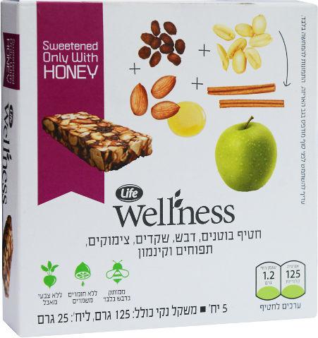 Wellness חטיף בוטנים, דבש, שקדים, צימוקים, תפוחים וקינמון
