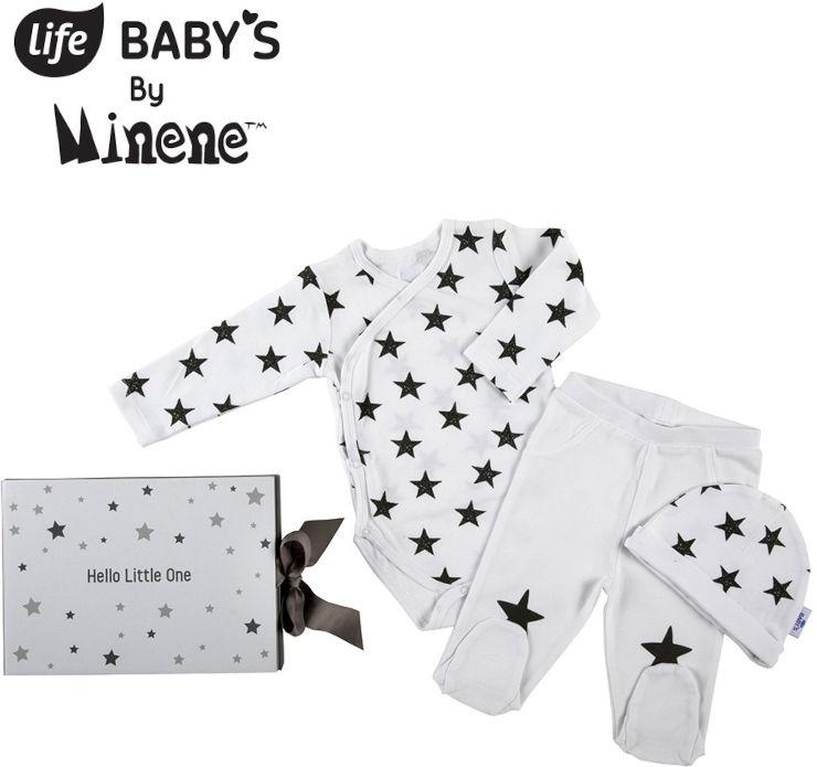 לייף בייביז מארז מתנה לתינוק בגד גוף ארוך  מכנסיים וכובע 0-3 אפור עם כוכבים מיננה