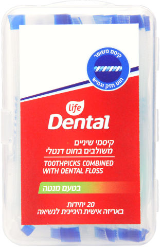 Dental קיסמי שיניים משולבים בחוט דנטלי בטעם מנטה
