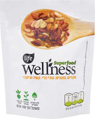 WELLNESS SUPER FOOD שקדים, בוטנים, גוג'י ברי, קשיו וג'ינג'ר