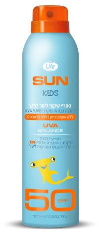 SUN KIDS ספריי שקוף לעור רגיש SPF50 עמיד במים