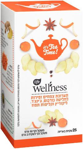 לייף וולנס חליטת צמחים ופירות כורכום  ג'ינג'ר  ליקוריץ וקליפות תפוז