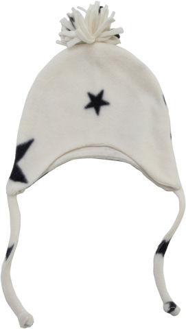לייף בייביז כובע תינוק פליז שחור לבן 0-6 חורף מיננה