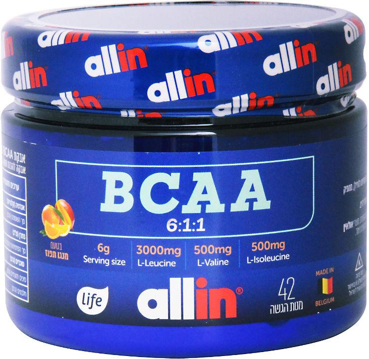 אול אין אבקת BCAA בטעם מנגו תפוז