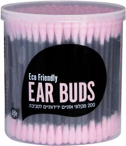 מקלוני אוזניים צבעוניים ידידותיים לסביבה ורוד-שחור