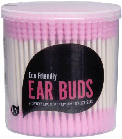 מקלוני אוזניים צבעוניים ידידותיים לסביבה ורוד-לבן