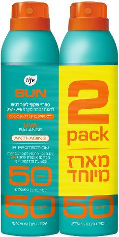 SUN ספריי הגנה שקוף לעור רגיש SPF50 מארז