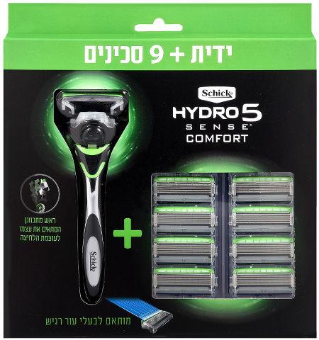 היידרו 5 מכשיר גילוח רב פעמי לעור רגיש + סכינים