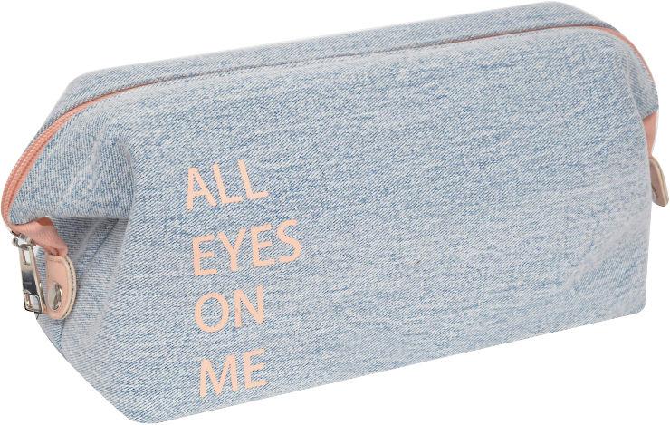 תיק איפור ג'ינס עם סגירה קשיחה