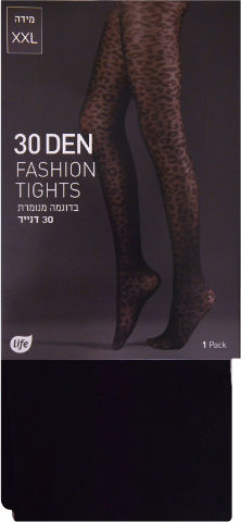 גרבונים אופנתיים מדוגמים נמר 30 דנייר שחור XXL