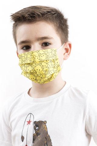 שלישיית מסכות מעוצבות ילדים סמיילי צהוב
