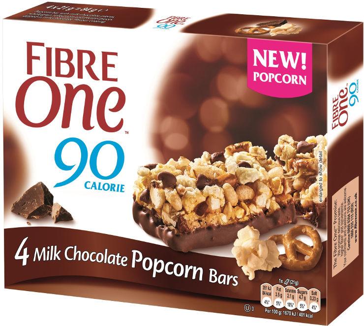 חטיף פופקורן עם שבבי שוקולד חלב, שיבולת שועל מלאה ובייגלה בציפוי בטעם שוקולד