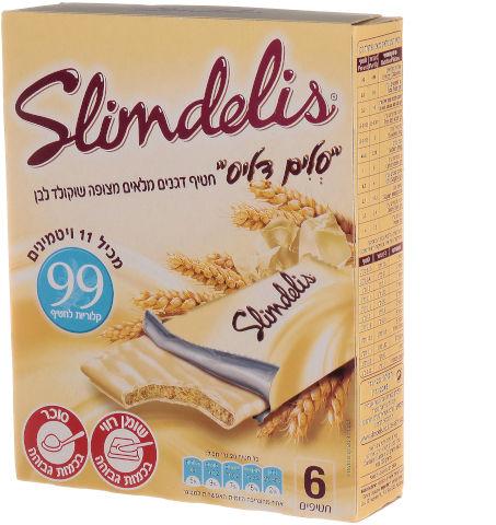 סלים דליס חטיף דגנים מלאים מצופה שוקולד לבן
