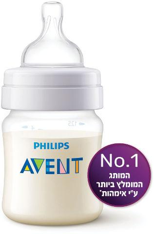 בקבוק פוליפרופילן חלבי קלאסיק+ עם פטמה מס' 1