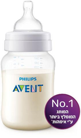 בקבוק פוליפרופילן חלבי קלאסיק+ עם פטמה מס' 2