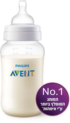 בקבוק פוליפרופילן חלבי קלאסיק+ עם פטמה מס' 3