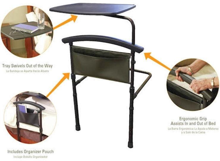 שולחן למיטה ומעקה בטיחות