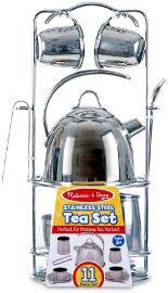 melissa and doug ערכת כלי תה מנירוסטה לילדים