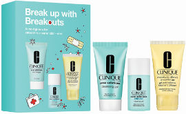 CLINIQUE BREAK UP WITH BREAKOUTS סט ג'ל ניקוי + תכשיר ג'ל בפצעונים + ג'ל לחות