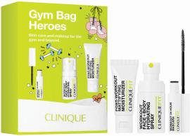 CLINIQUE GYM BAG HEROES סט תחליב לחות במרקם ג'ל + מסקרה + תכשיר לחות לפנים
