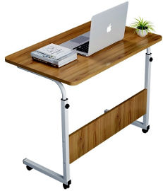 MY CASA שולחן לפטופ מתכוונן צבע עץ בשילוב לבן