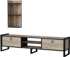 Tudo Design מזנון לסלון בגוון אורן טבעי עם רגלי מתכת ומעמד מדפים