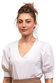 ביאנקה חולצה לבנה עם שרוולים תפוחים דגם Ella