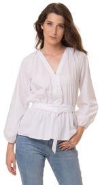 ביאנקה Caroline חולצה לבנה מעודנת עם חגורה