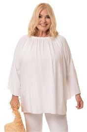 ביאנקה Hailey חולצה לבנה עם כיווצים רפים בכתפיים