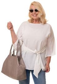 ביאנקה Everly חולצה לבנה עם חגורה מובנת