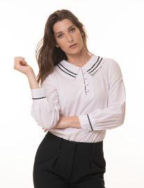 ביאנקה Addison חולצה לבנה עם עיטור בצווארון