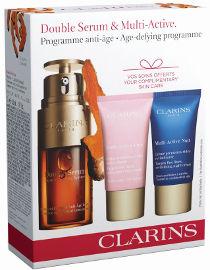 CLARINS DOUBLE SERUM מארז סרום + קרם יום MULTI ACTIVE + קרם לילה לכל סוגי העור