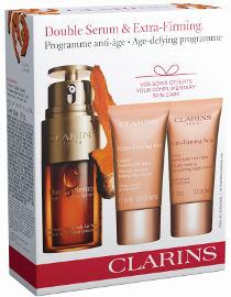 CLARINS DOUBLE SERUM מארז סרום + קרם יום EXTRA FIRMING + קרם לילה לכל סוגי העור