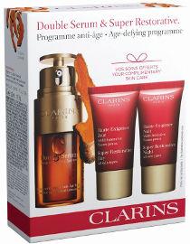 CLARINS DOUBLE SERUM מארז סרום + קרם יום SUPER-RESTORATIVE + קרם לילה לכל סוגי העור