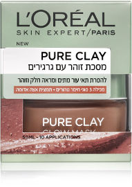L'OREAL PARIS PURE CLAY מסכת זוהר עם גרגירים