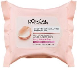 L'OREAL PARIS FLEURS RARES מגבונים להסרת איפור לעור רגיש