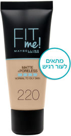MAYBELLINE FIT ME MATTE PORELESS מייק אפ 220
