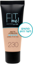 MAYBELLINE FIT ME MATTE PORELESS מייק אפ 230