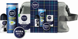 NIVEA מארז טיפוח לגבר: ג'ל רחצה, דאודורנט רול און, אפטר שייב, קרם רב שימושי