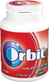אורביט גומי לעיסה בטעם תות בקבוקון הסדרה הצבעונית